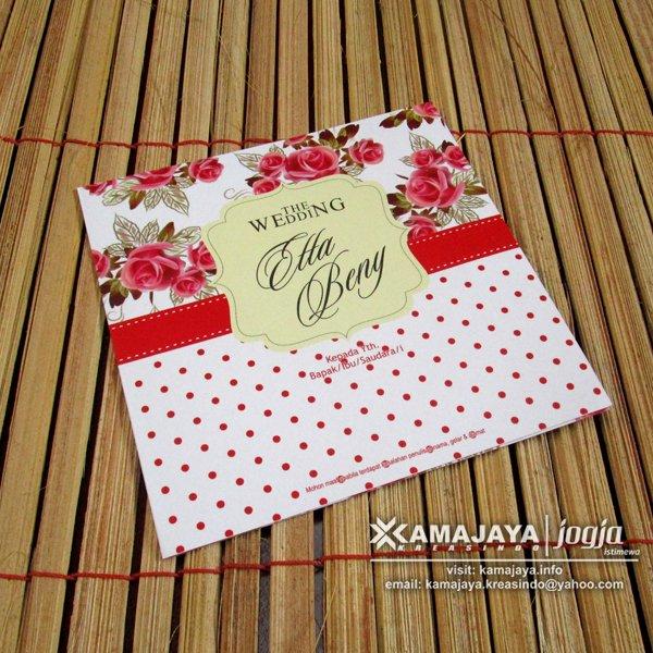 Undangan Pernikahan Vintage Bunga Merah