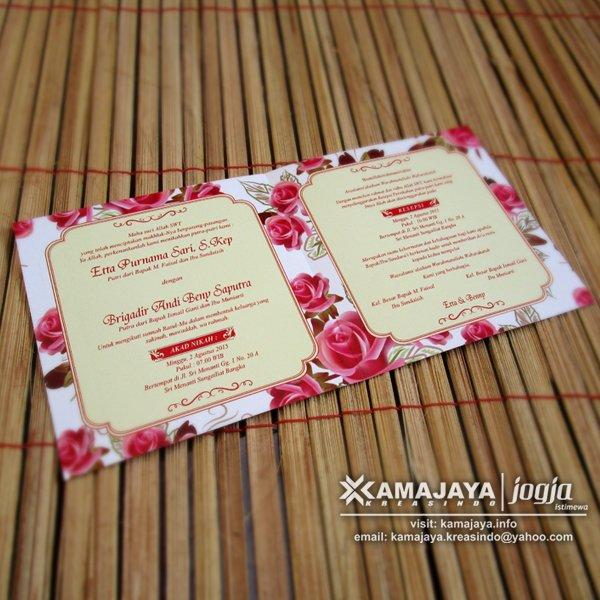 Undangan Pernikahan Vintage Bunga Merah isi Undangan