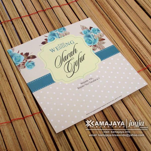 Undangan Pernikahan Vintage Biru Coklat