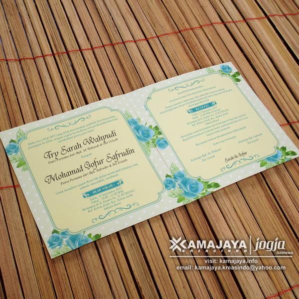 Undangan Pernikahan Vintage Biru Cyan