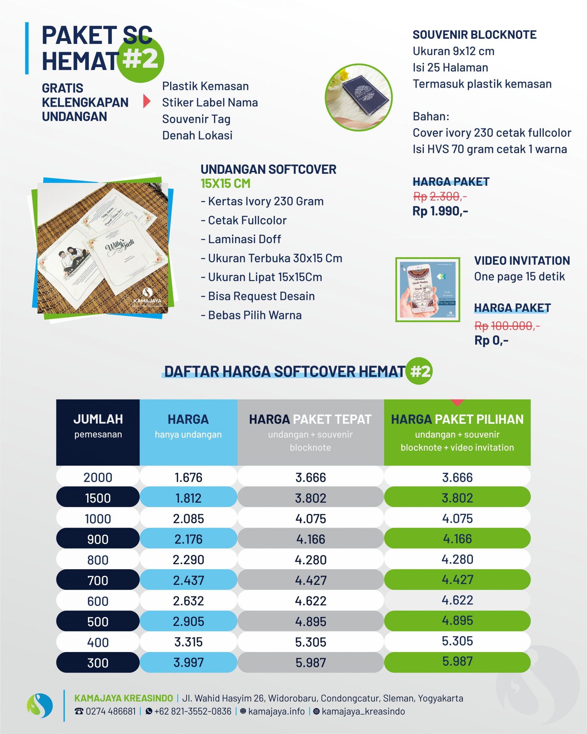 Daftar Harga Paket Undangan + Souvenir Blocknote